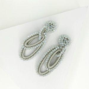 Boho Beaded Loopy Earrings in White